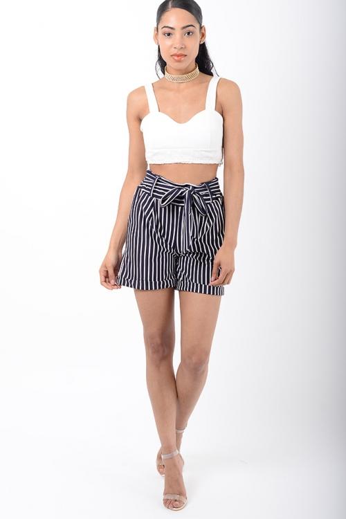 Stylish White Stripes High Waisted Shorts