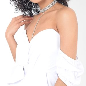 Stylish White Bardot Ruffle Sleeve Top