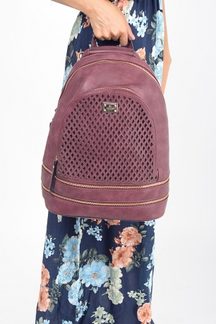 Stylish Bessie London Burgundy Backpack