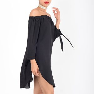 Stylish Black Bardot Tunic Top