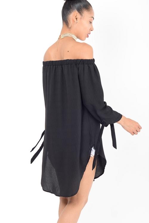 Stylish Black Bardot Tunic Top