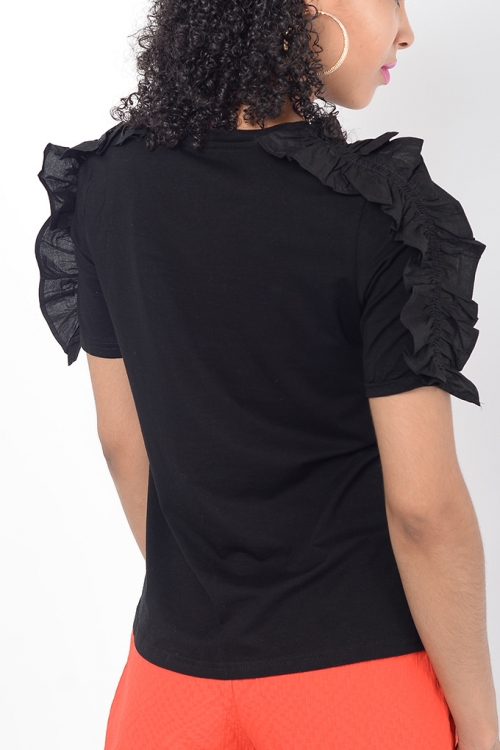 Stylish Black Frill Top