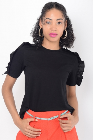 Stylish Black Frill Top