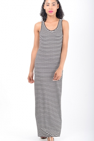 Stylish Black Stripe Maxi Dress