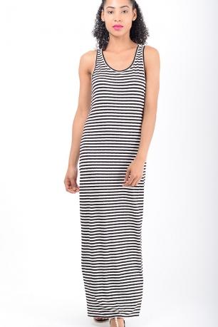 Stylish Black Stripe Maxi Dress