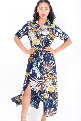 Stylish Blue Double Split Floral Dress