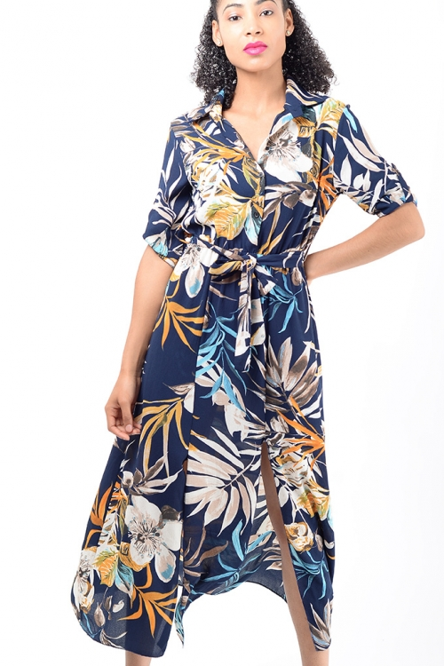 Stylish Blue Double Split Floral Dress