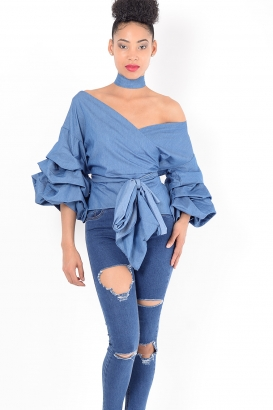 Stylish Denim Ruffle Sleeve Wrap Top