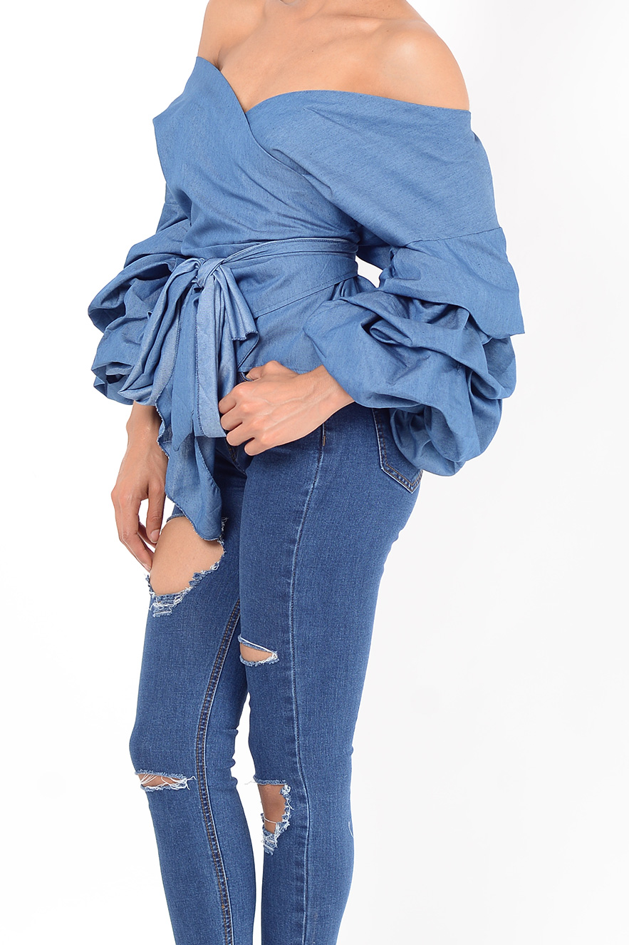 Stylish Tops Collection 2013 For Girls: Stylish Denim Ruffle Sleeve Wrap Top
