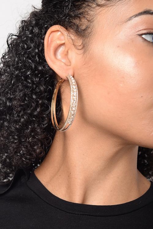 Stylish Diamond Hoop Earrings