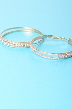 Stylish Diamond Hoops Earrings