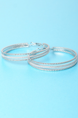 Stylish Double Silver Hoop Earrings