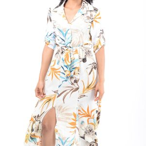 Stylish Double Split Floral Dress