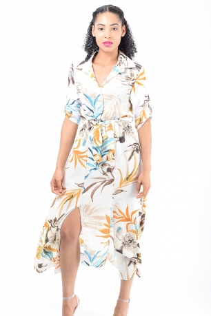 Stylish Double Split Floral Dress