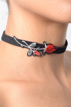 Stylish Embroidered Suede Choker