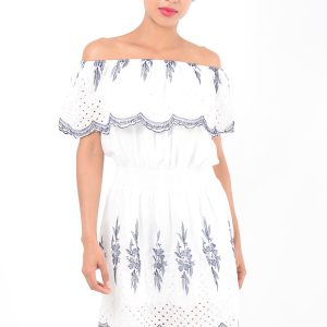 Stylish Embroidered White Bardot Dress