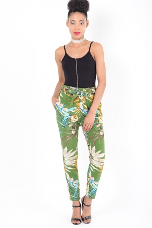 Stylish Floral Peg Trousers