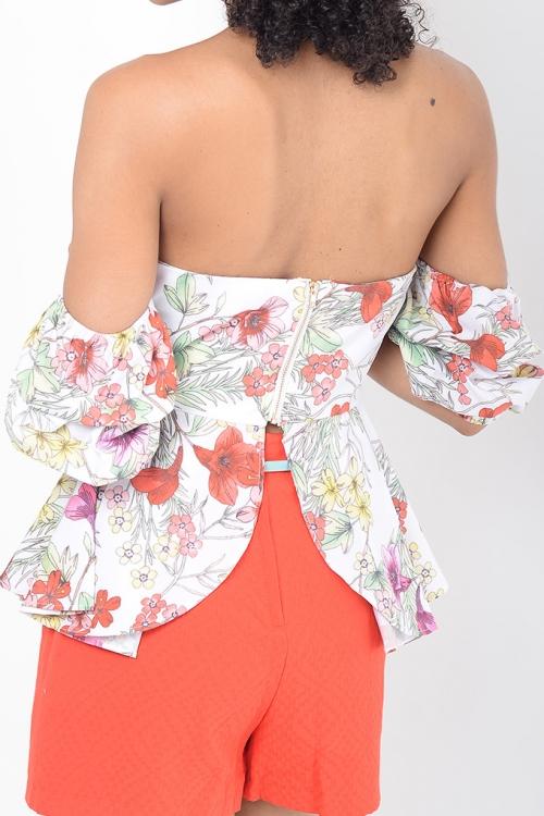 Stylish Floral Ruffle Sleeve Bardot Top