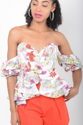 Stylish Floral Ruffle Sleeve Bardot Top
