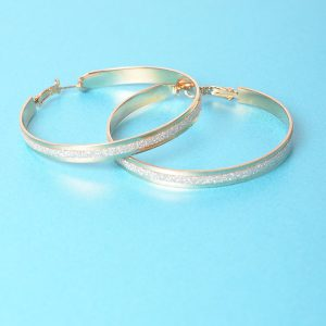 Stylish Glitter Gold Hoop Earrings