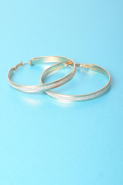 Stylish Glitter Gold Hoop Earrings
