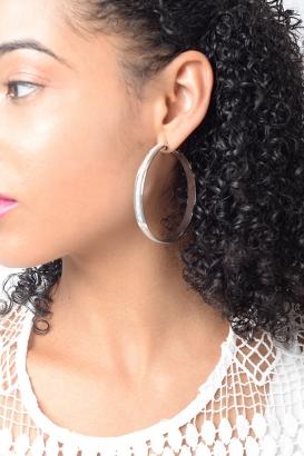 Stylish Glitter Silver Hoop Earrings