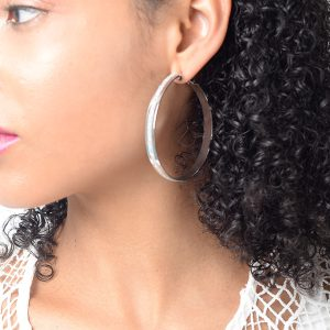Stylish Glitter Silver Hoop Earrings