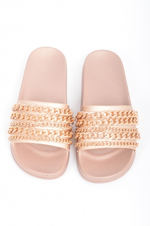 Stylish Gold Chain Slides
