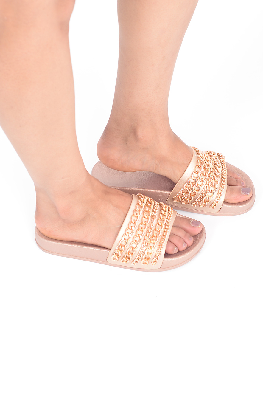 stylish gold chain slides stylish shoes sliders slippers