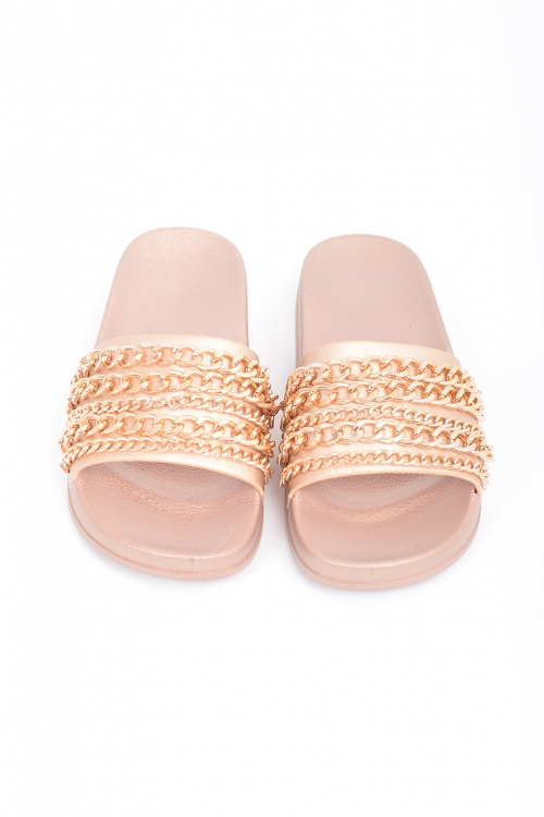 Stylish Gold Chain Slides