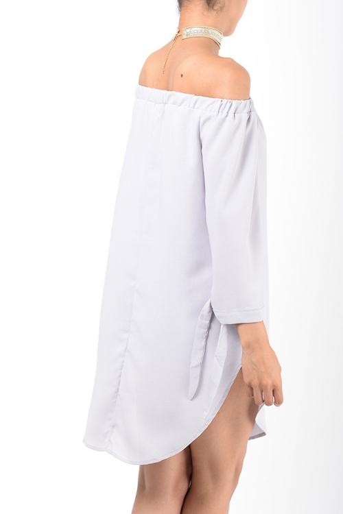 Stylish Grey Bardot Tunic Top