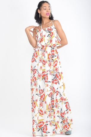 Stylish Layered Floral Print Maxi Dress