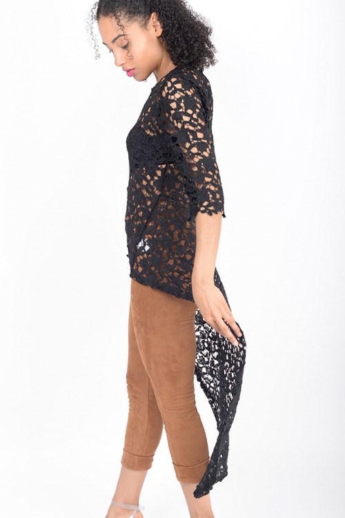 Stylish Longline Black Lace Top