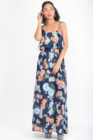 caac4721424 Stylish Navy Blue Floral Maxi Dress