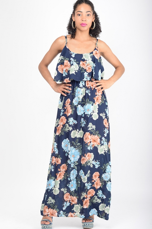 Stylish Navy Blue Floral Maxi Dress