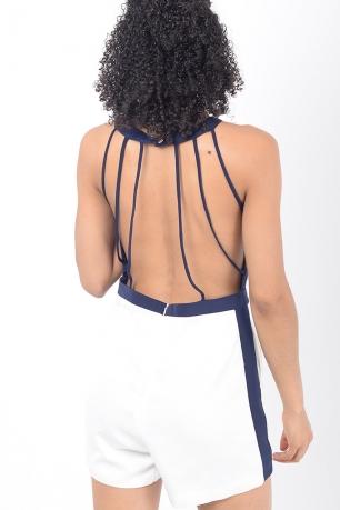 Stylish Open Back White Playsuit