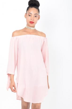 Stylish Pink Bardot Tunic Top