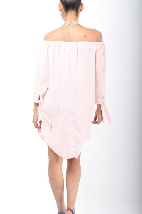 Stylish Pink Bardot Tunic Top