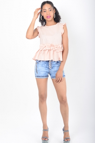 Stylish Pink Ruffle Top