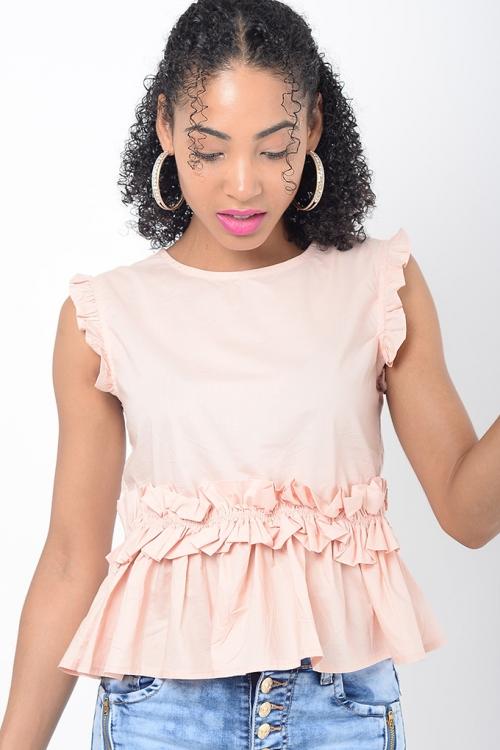 Stylish Pink Ruffle Top