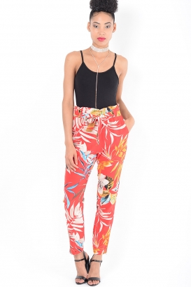 Stylish Red Floral Peg Trousers