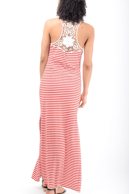 Stylish Red Stripe Maxi Dress
