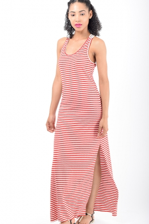 Stylish Red Stripe Maxi Dress