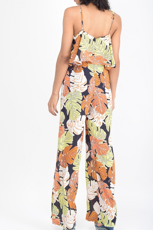 Stylish Tropical Print Layered Jumpsuit