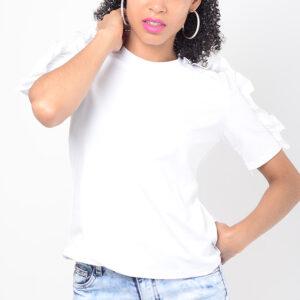 Stylish White Frill Sleeve Top