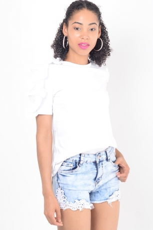 Stylish White Frill Sleeve Top