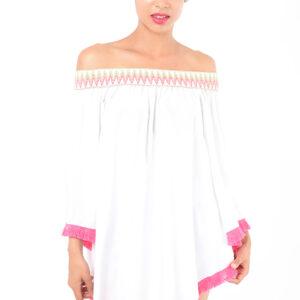 Stylish White Off The Shoulder Tunic