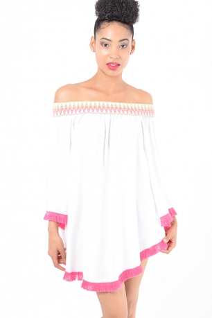 Stylish White Off The Shoulder Tunic