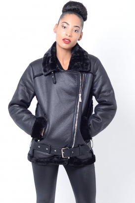 Stylish Black Faux Fur Biker Jacket