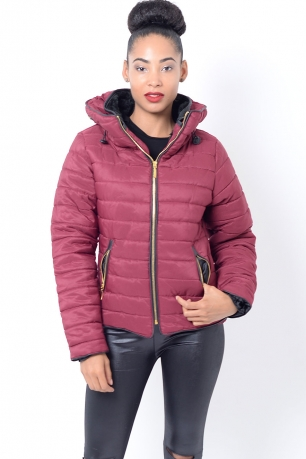 Stylish Burgundy Padded Jacket
